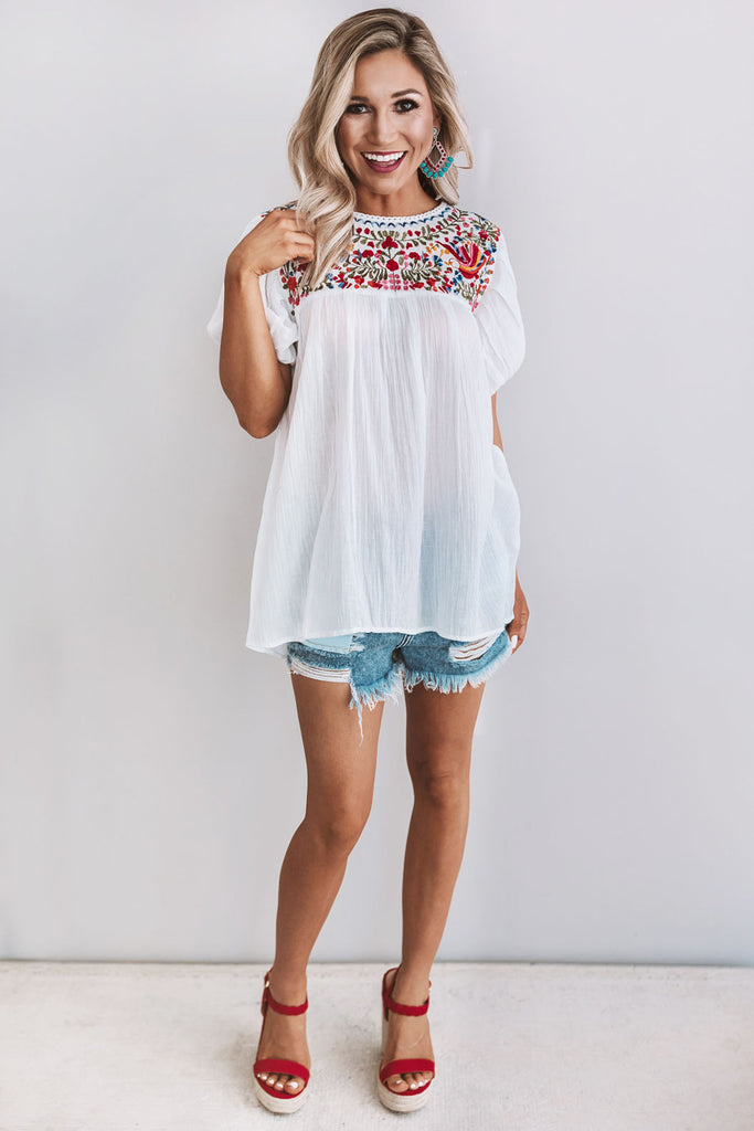 Barefoot in Barcelona Embroidered Top in White