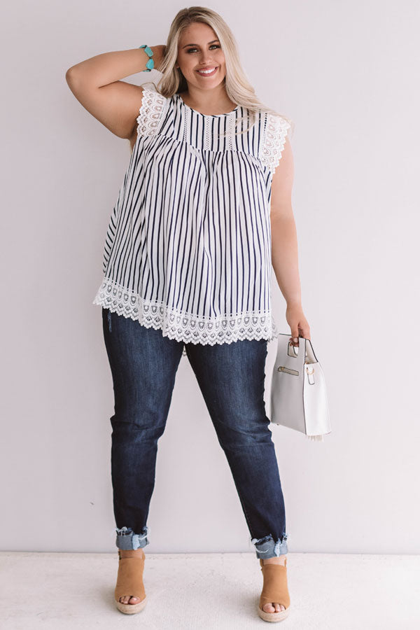 Sweetly Sunkissed Stripe Babydoll Top In Navy