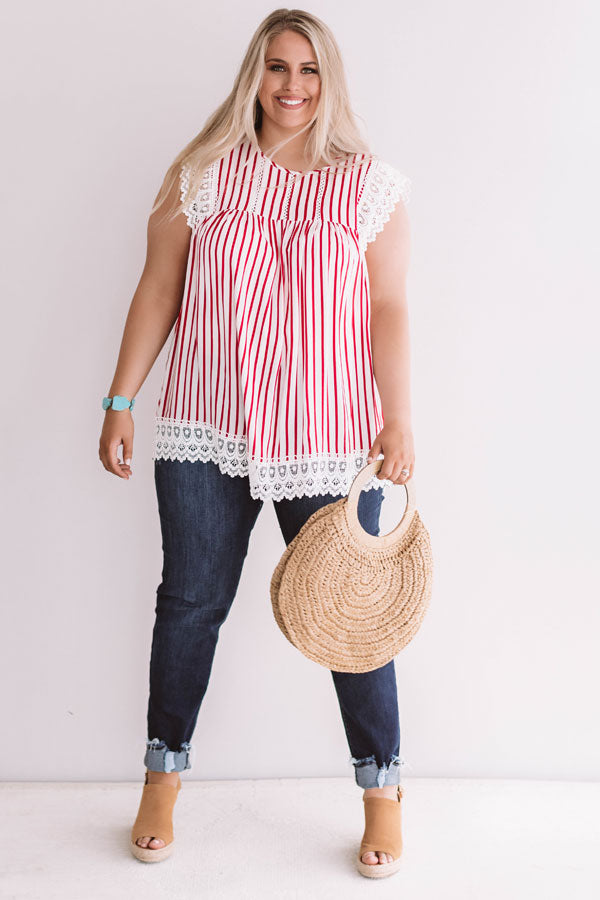 Sweetly Sunkissed Stripe Babydoll Top In Red