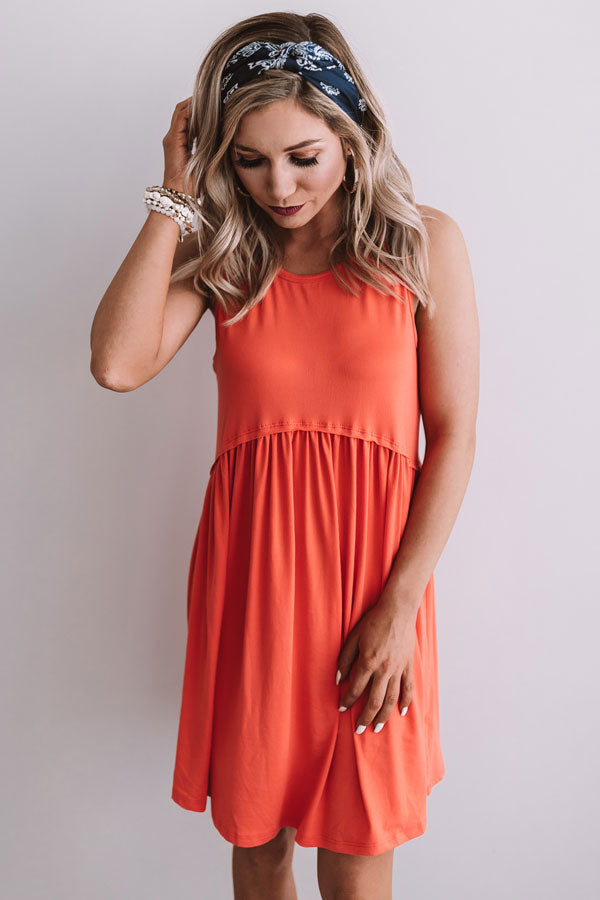 Beach Vibes Babydoll Dress In Coral