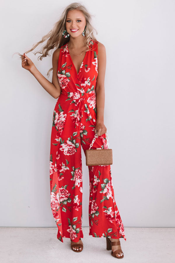 no sale tax buy cheap on wholesale Happily Ever After Floral Jumpsuit in Red