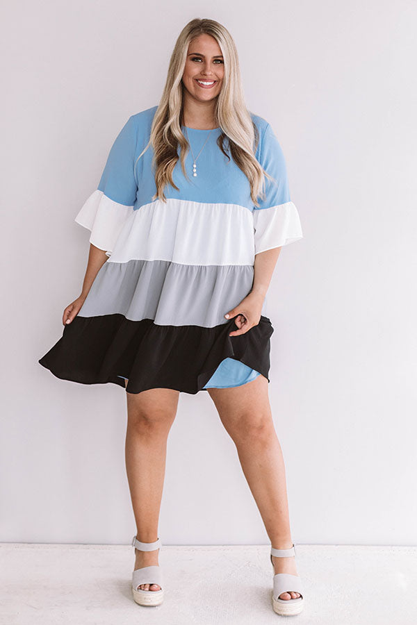 Frills and Thrills Babydoll Dress in Airy Blue