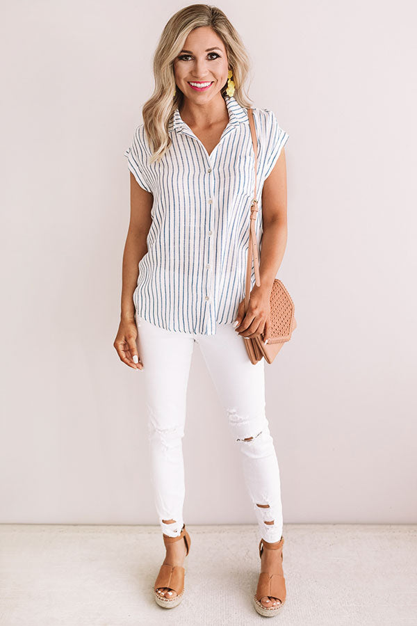 Huntington Beach Stripe Shift Top in Ivory