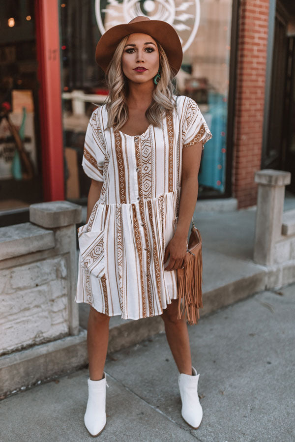 Chic In Santa Cruz Shift Dress in Mustard