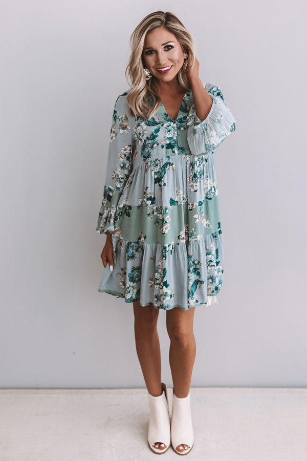 Garden Of Bliss Babydoll Dress In Airy Blue