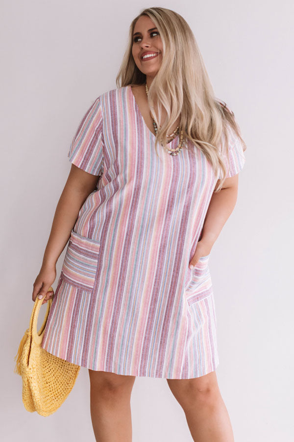 Pier Party Stripe Shift Dress in Pink