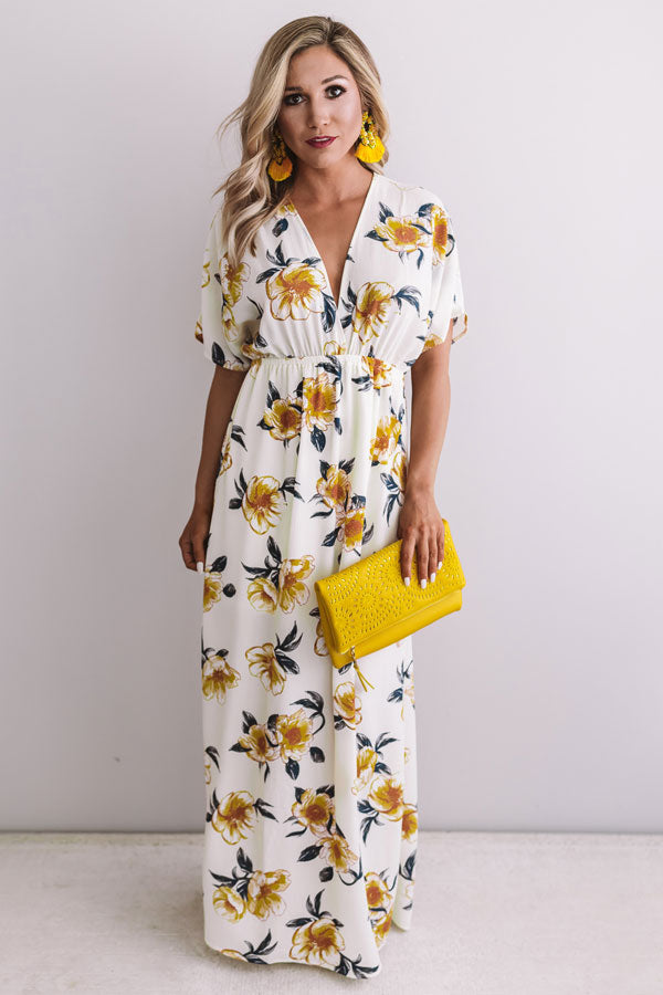 Waves In Maui Floral Maxi In Cream