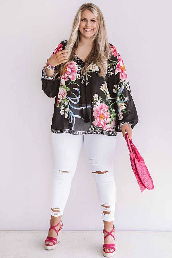 Passport To France Floral Shift Top