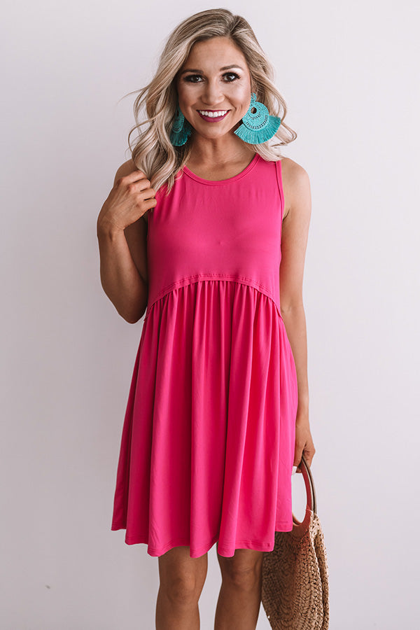 Beach Vibes Babydoll Dress In Fuchsia