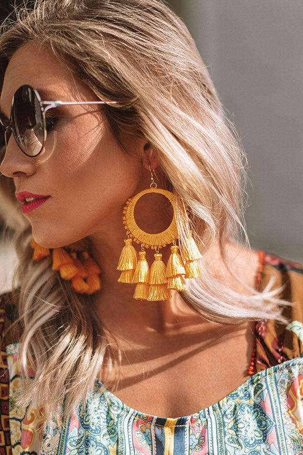 Bali Bungalow Earrings In Yellow