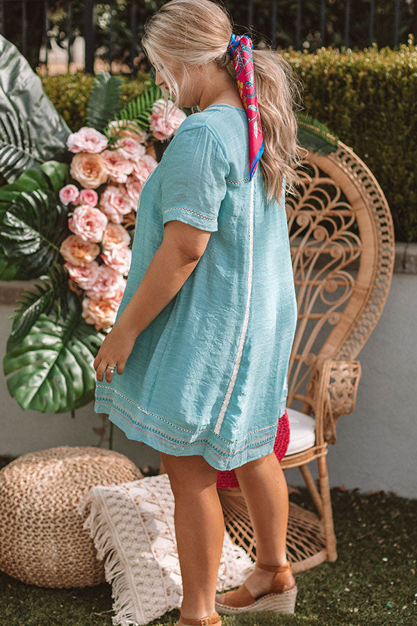 Dreaming Of Summer Embroidered Dress In Turquoise