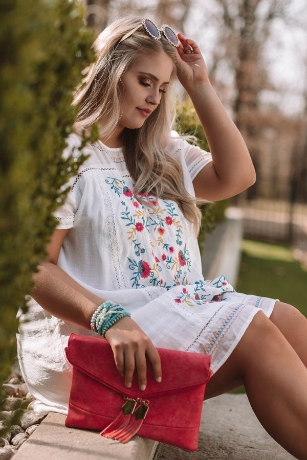 Dreaming Of Summer Embroidered Dress In White