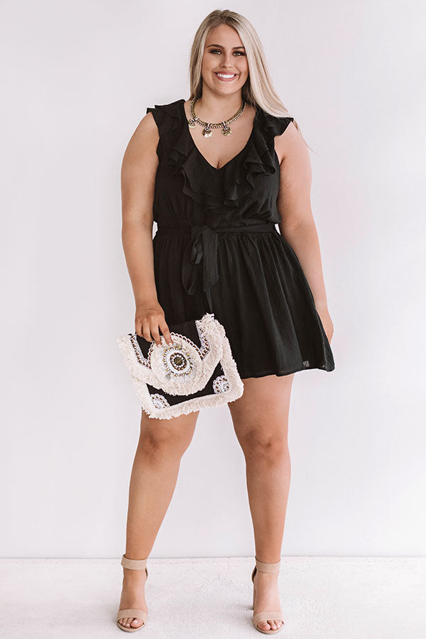 Bubbles In Brooklyn Ruffle Romper in Black