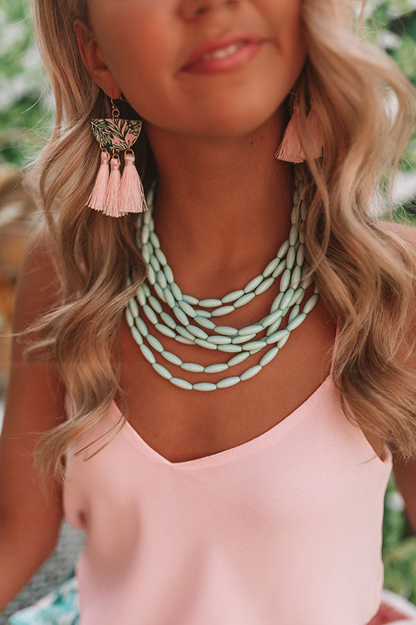 Beach Retreat Layered Necklace In Mint