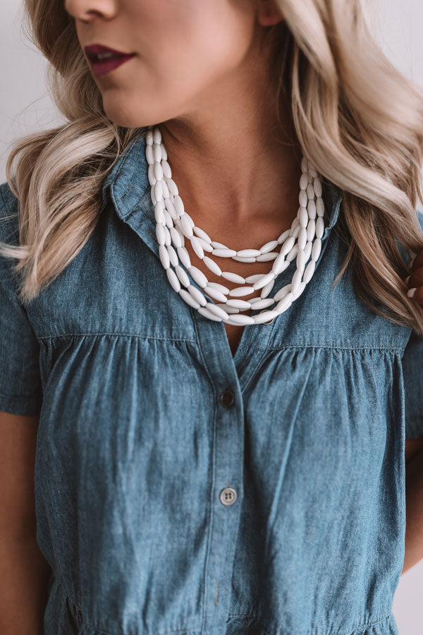 Beach Retreat Layered Necklace In White