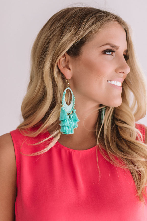 Bali Bungalow Earrings In Ocean Wave