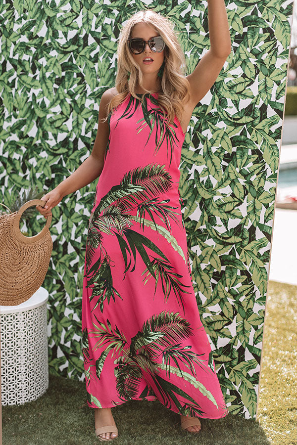 Dreamy Days Floral Maxi In Hot Pink