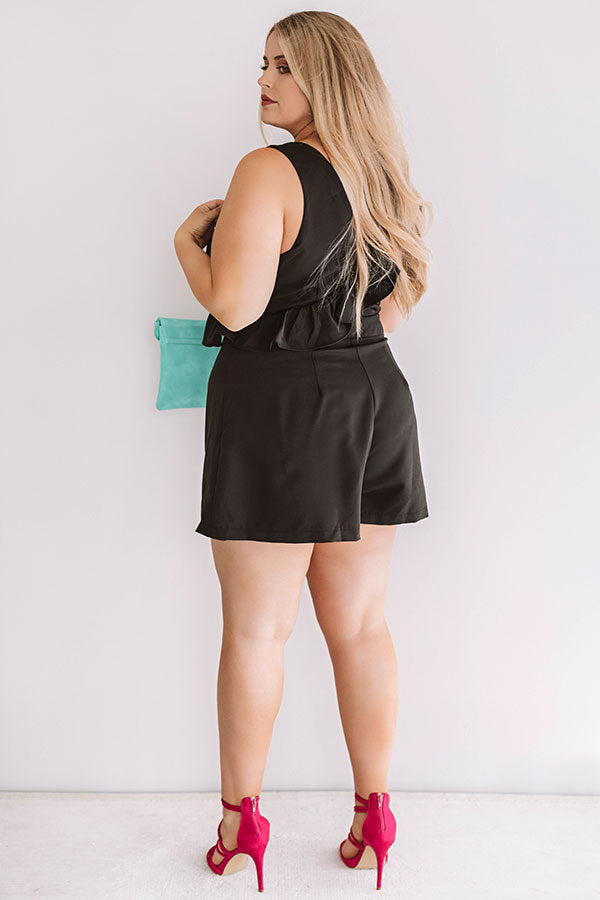 Off Broadway Ruffle Romper In Black