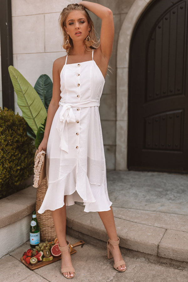 Welcome To Paradise Button Up Dress In White