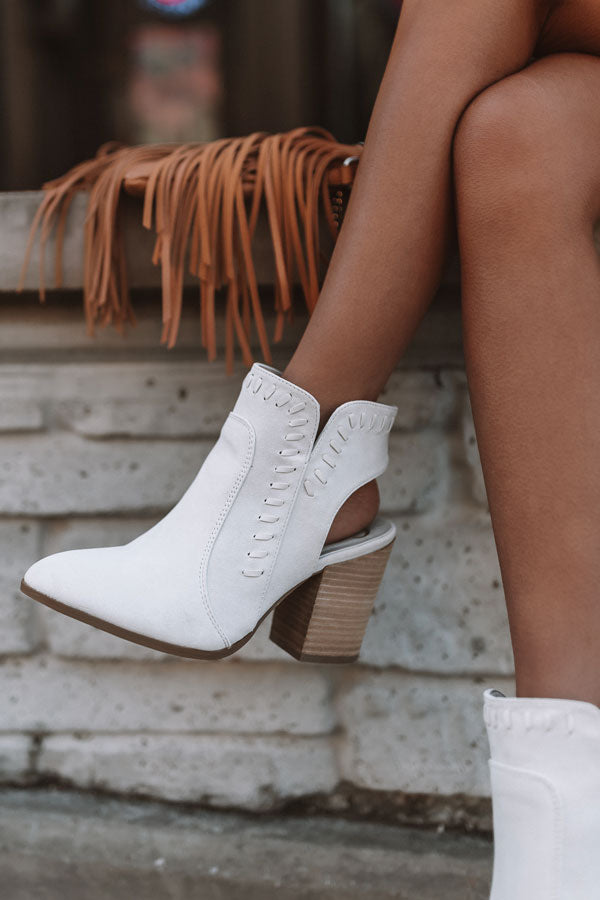 The Brynn Faux Suede Bootie In Light Stone