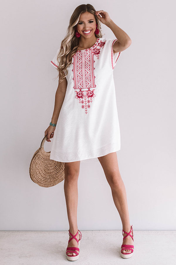 Off To Paradise Embroidered Dress