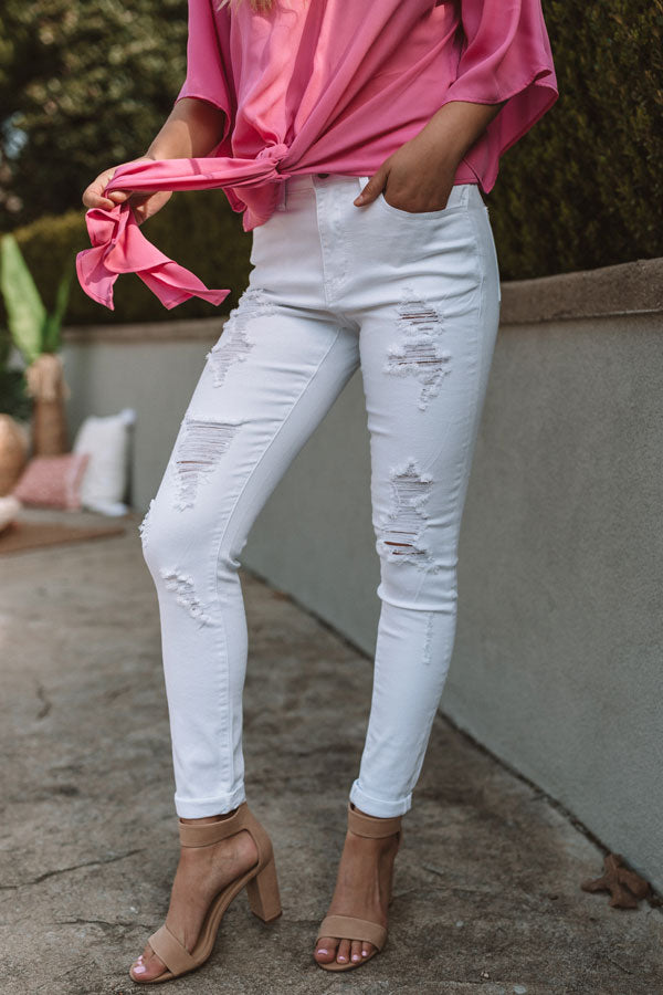 The Miller High Waist Distressed Skinny in White
