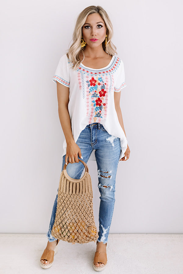 Hidden Agenda Embroidered Top