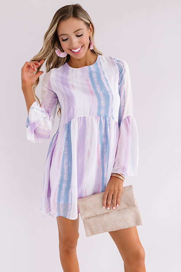 Sunrise Views Watercolor Shift Dress in Lavender