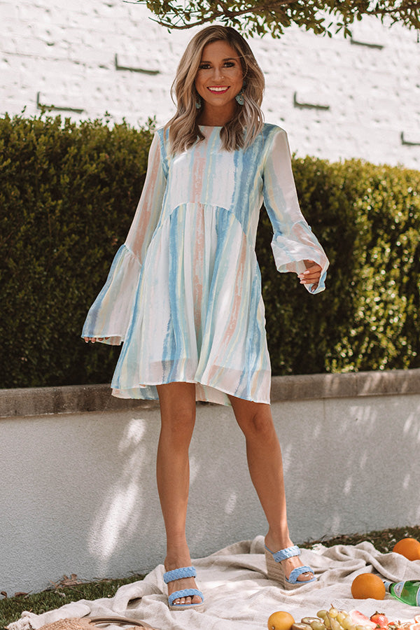 Sunrise Views Watercolor Shift Dress in Limpet Shell