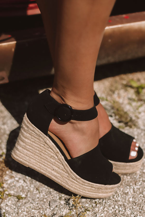 The Magnolia Espadrille Wedge In Black