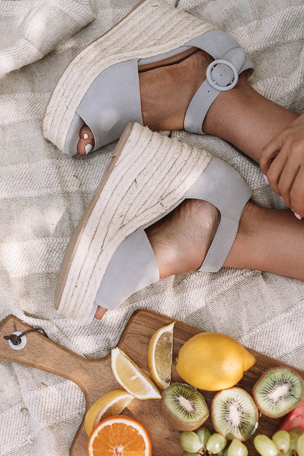 The Magnolia Espadrille Wedge In Grey