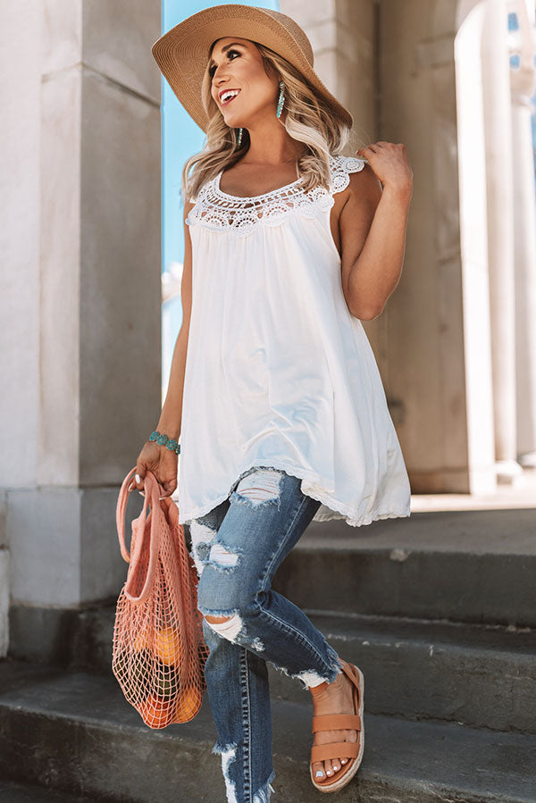 Getaway Goals Crochet Tank in Ivory