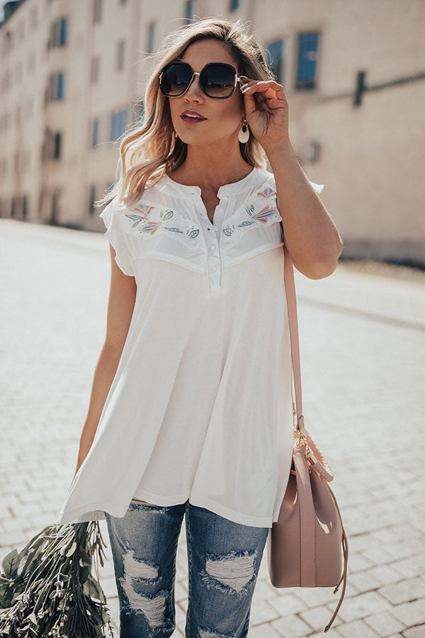 Sweet Swooning Embroidered Henley Top