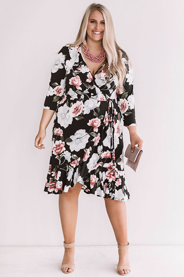 Grand Debut Faux Wrap Floral Dress