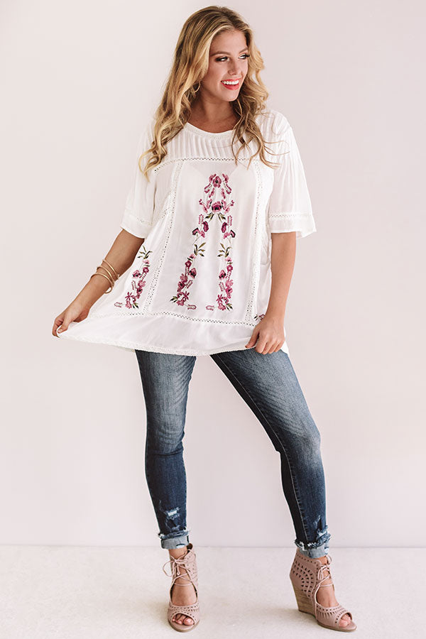 Fun In Floral Embroidered Top in White
