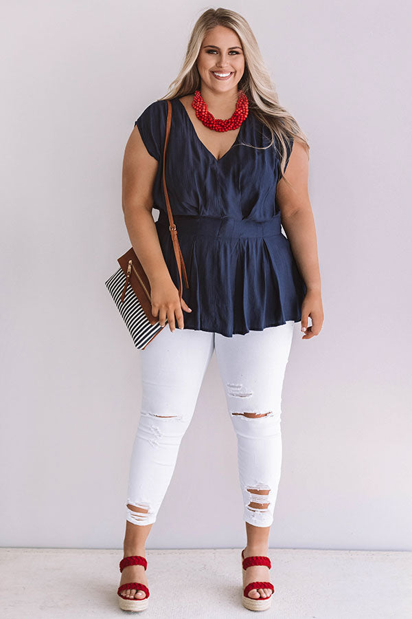 Definitely Darling Top in Indigo