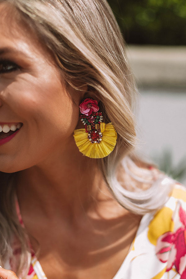 Bali Nights Beaded Earrings In Yellow