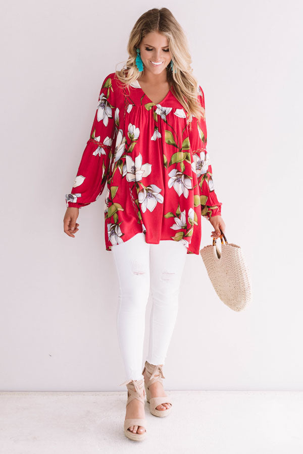Brunching In Bali Shift Top In Rose