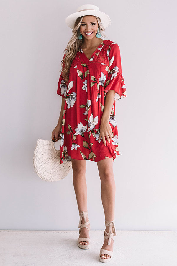 Brunching In Bali Shift Dress In Rose