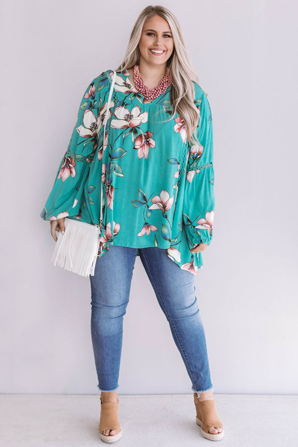 Brunching In Bali Shift Top In Jade