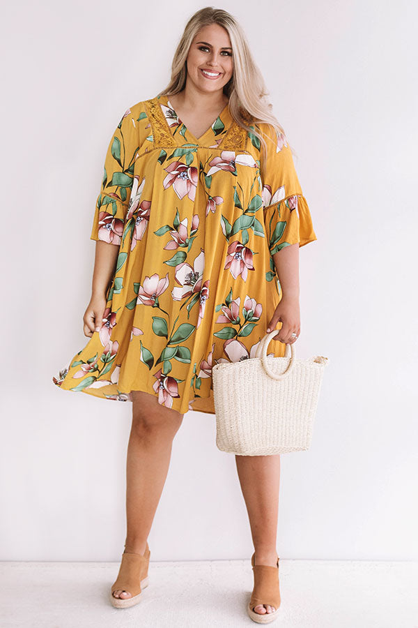 Brunching In Bali Shift Dress In Mustard