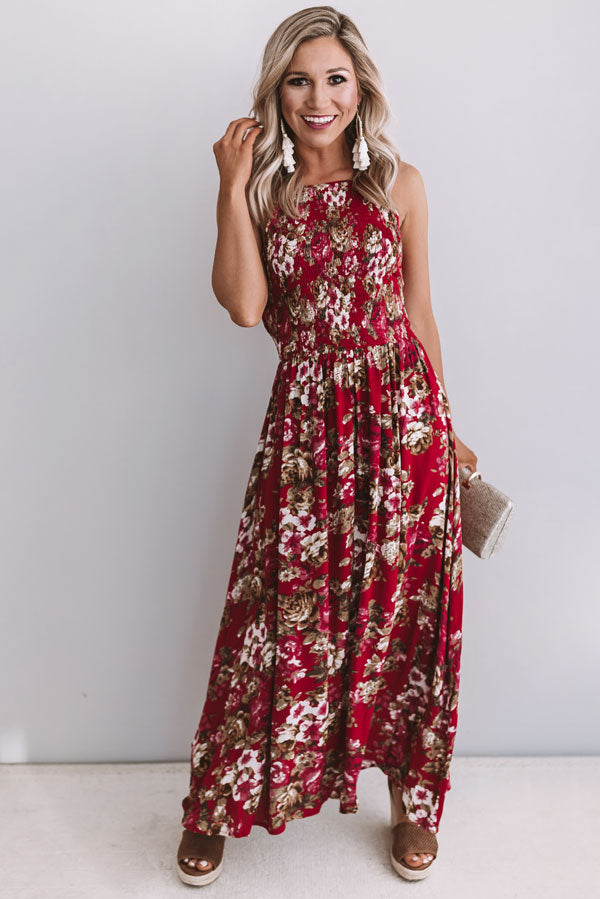 Counting Roses Smocked Maxi Dress