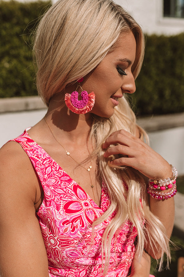 Endless Celebration Earrings In Hot Pink