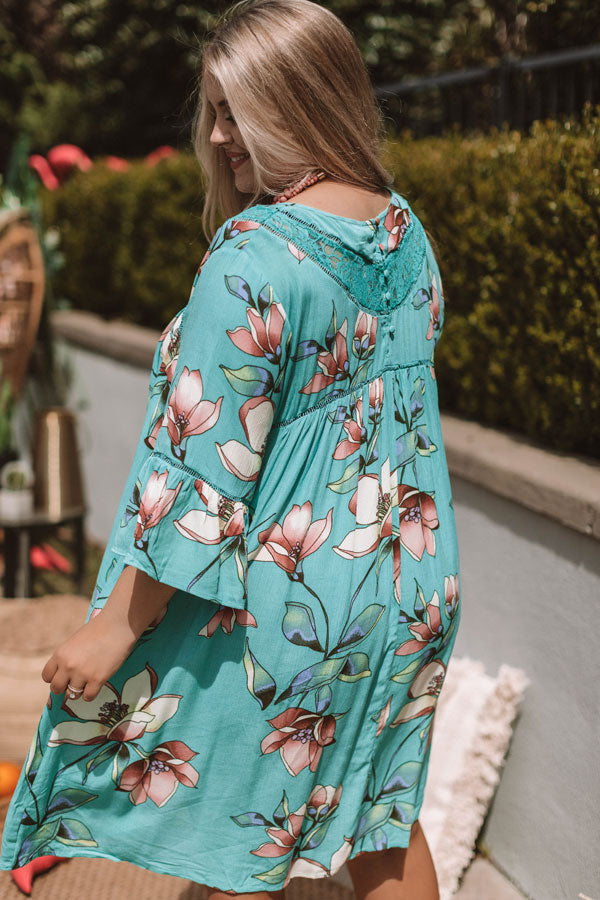 Brunching In Bali Shift Dress In Jade