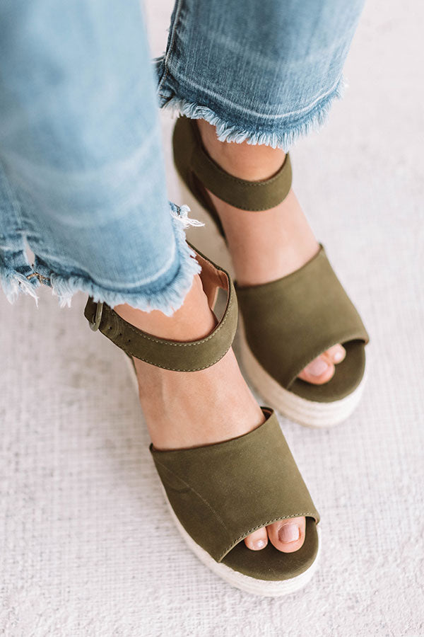 The Magnolia Espadrille Wedge In Olive