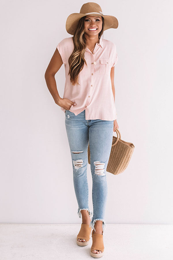 Grand Cayman Gorgeous Shift Top In Rose Quartz