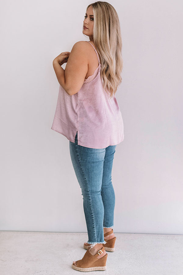 Graceful Lace Tank In Blush