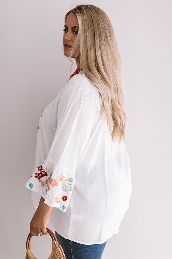 Poolside Pina Coladas Embroidered Shift Top In White