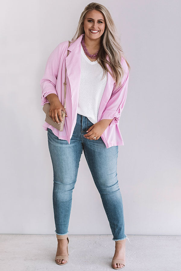 Touring Rome Lightweight Blazer In Pink