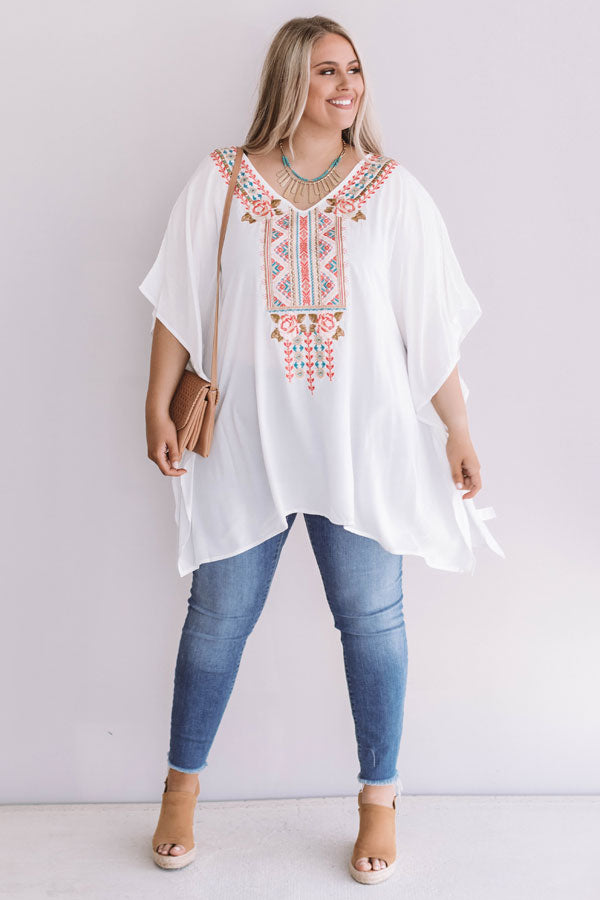Seeking Santorini Embroidered Shift Top